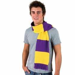 Gestreepte sjaal paars geel
