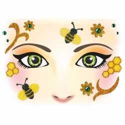 Gezicht stickers bijen 1 vel