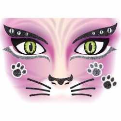 Gezicht stickers kat 1 vel