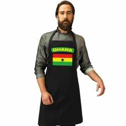 Ghana vlag barbecueschort/ keukenschort zwart volwassenen