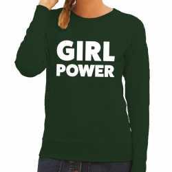 Girl power tekst sweater groen dames