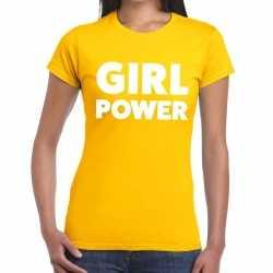 Girl power tekst t shirt geel dames