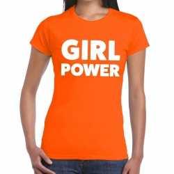 Girl power tekst t shirt oranje dames