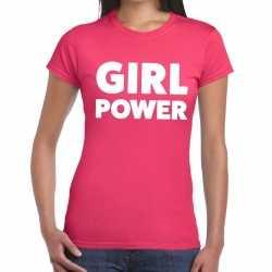 Girl power tekst t shirt roze dames