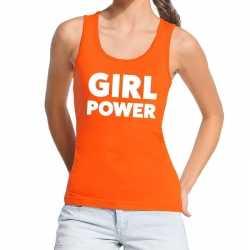 Girl power tekst tanktop / mouwloos shirt oranje