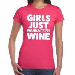 Girls just wanna have wine tekst t shirt roze dames