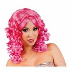 Glamour damespruik roze krullen