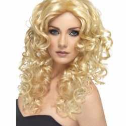 Glamour pruik blonde krullen