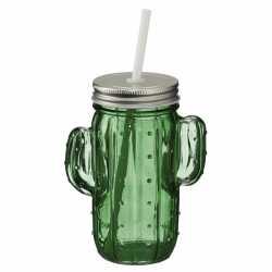 Glazen cactus drinkpotje/drinkglas deksel 400 ml donkergroen