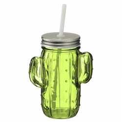 Glazen cactus drinkpotje/drinkglas deksel 400 ml lichtgroen