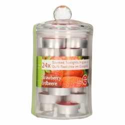 Glazen pot 24 aardbei geur theelichtjes