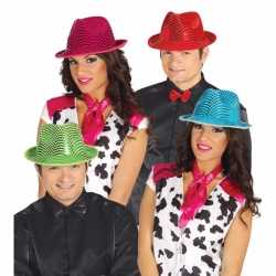 Glimmende roze gangster hoed volwassenen