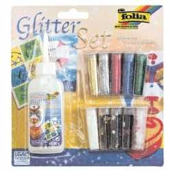 Glitter confetti set lijm 11 delig
