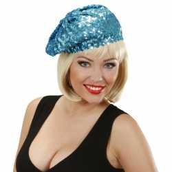 Glitter dames muts blauw