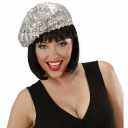 Glitter dames muts zilver