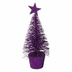 Glitter mini kerstboompje paars