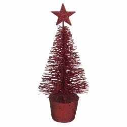 Glitter mini kerstboompje rood