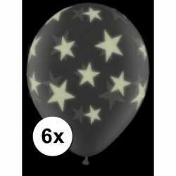 Glow in the dark ballonnen 6 st sterren 28