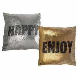 Goud/zilver kussen enjoy/happy omkeerbare pailletten 40