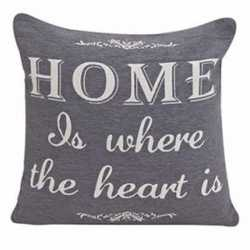 Grijs kussentje home is where the heart is 45cm
