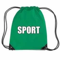 Groen sport rugtasje/ gymtasje kinderen