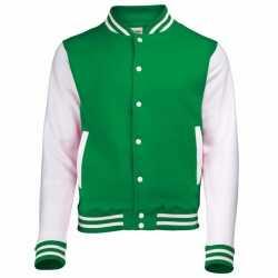 Groen wit college jacket dames