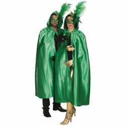 Groene satijnen cape volwassenen