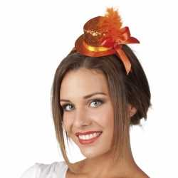 Haarband oranje glitter hoedje