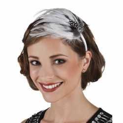 Haarband witte veren
