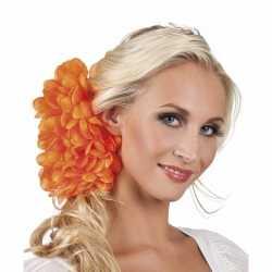 Haarbloem oranje dahlia clip