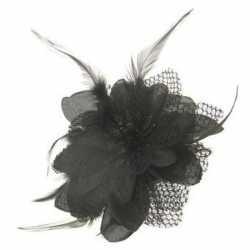 Haarbloem zwart veertjes