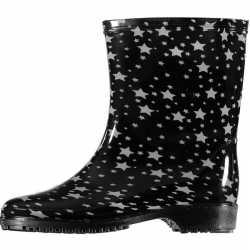 Half hoge dames regenlaarzen zwart sterren print dames