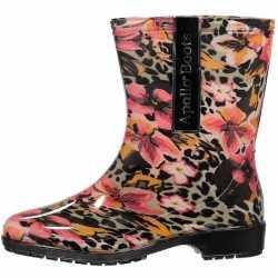 Halfhoge dames regenlaarzen luipaard/bloemen print