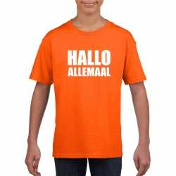 Hallo allemaal tekst oranje t shirt kinderen