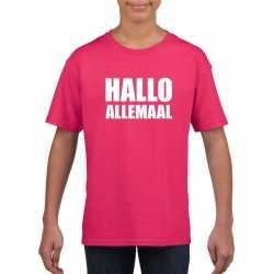 Hallo allemaal tekst roze t shirt kinderen