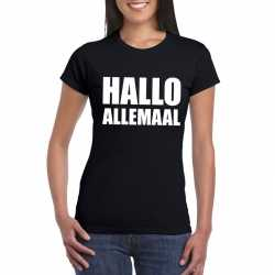 Hallo allemaal tekst t shirt zwart dames