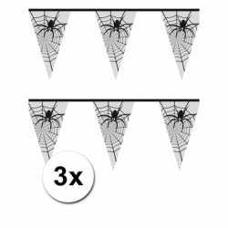 Halloween 3x Spinnenweb vlaggenlijn 6 meter
