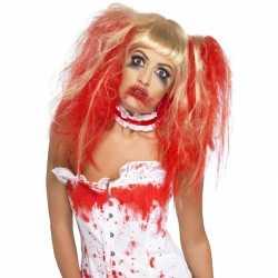 Halloween Blonde damespruik rode plukken