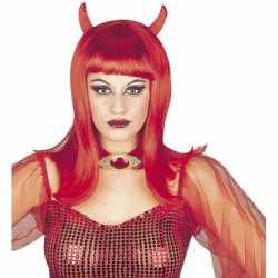 Halloween Dames duivel pruik
