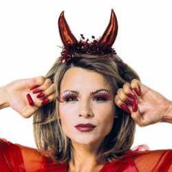 Halloween Duivel diadeem metallic rood