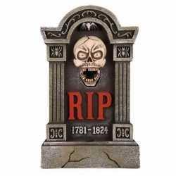 Halloween grafsteen rip led ogen bewegende kaak 60