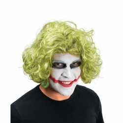 Halloween Groene halflange pruik krullen