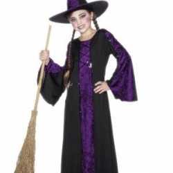 Halloween Heksen kinder kostuum zwart/paars