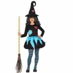 Halloween heksen kleding blauw/zwart meisjes