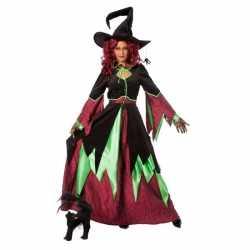 Halloween Heksen kostuum groen/rood vrouwen