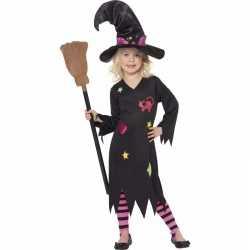 Halloween heksen verkleedkleding rosa meisjes