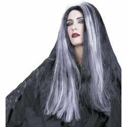 Halloween Heksenpruik lang grijs/zwart haar