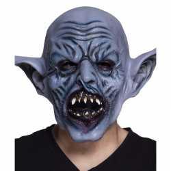 Halloween latex blauw ork monster hoofdmasker volwassenen
