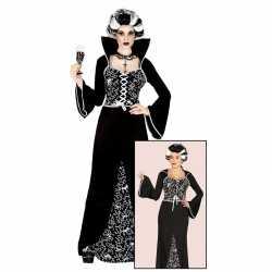 Halloween luxe vampieren jurk zwart/wit dames