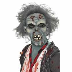 Halloween Masker zombie grijs haar